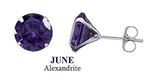 10k White Gold 8mm Round June Alexandarite Birthstone Stud Earrings