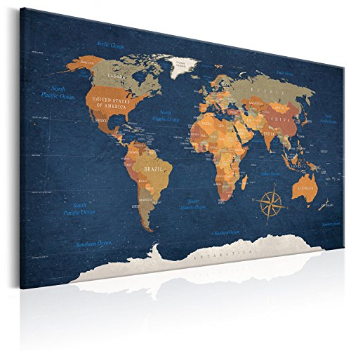 """artgeist Pinboard World Map 35.4"""" x 23.62"""" Cork Board & Canvas Print Wall Art 1 pcs Memoboard with 50 Pins Noticeboard Message Board Image Picture Home Decor Travel Map Map of The World k-C-0048-p-b"""