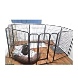 Tall ExercisePen Extra Large HeavyDuty 40-Inch with Door Big Dog Black Pet 8 Panels Playpen & eBook by OISTRIA