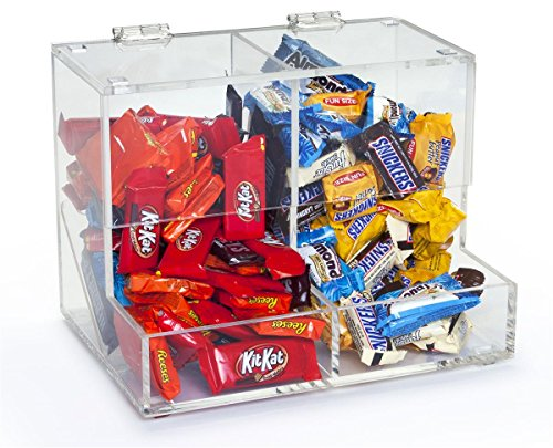 Displays2go Clear Acrylic 2 Sections Candy Bins Have, 12 x 8-3/4 x 8-Inch