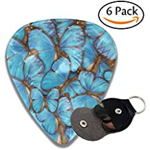 Wxf Abstract Background Tropical Butterflys Morpho Menelaus Stylish Celluloid Guitar Picks Plectrums For Guitar Bass .46mm 6 Pack