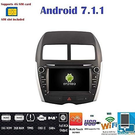 Autorradio Android 7.1 4G LTE GPS DVD USB SD Navegador Wifi Bluetooth Radio 2 Din Mitsubishi ASX / Citroën C4 Aircross / Peugeot 4008: Amazon.es: ...