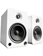 "Kanto YU6 Powered Bookshelf Speakers with Bluetooth® and Phono Preamp, 5.25"" Kevlar Driver, 200W Peak Power, Gloss White"