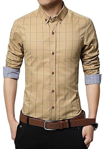 LOCALMODE Men's 100% Cotton Long Sleeve Plaid Slim Fit Button Down Dress Shirt