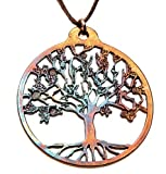 From War to Peace Tree of Life Iridescent Pendant Necklace on Adjustable Natural Fiber Cord