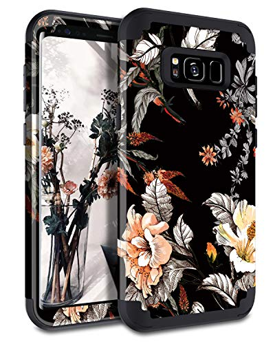 - Casetego Compatible Galaxy S8 Case,Floral Three Layer Heavy Duty Hybrid Sturdy Armor Shockproof Full Body Protective Cover Case for Samsung Galaxy S8,Orange Flower/Black