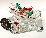 Hand Sculpted Glass Sleigh on Mirror with Teddy Bear