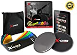 Cheap (5) Premium Resistance Bands and Dual Sided Gliding Discs for Men and Women with FREE Digital Workout Guide at www.x-corefitness.com