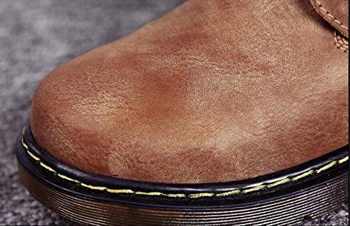 Onfly Bomba Dr Martens Botas de martin Hombres Invierno Mantener caliente Color puro Antideslizante Cordones británico Botas de nieve Botas del desierto Tamaño de la UE 38-44 Brown