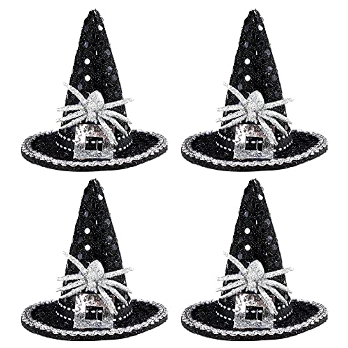 4 Pack Glitter Halloween Witch Hat with Sliver Spider, Halloween Witch Hat with Clip Decorations
