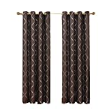 Set of 2 Panels 104″Wx96″L -Royal Tradition – LAGUNA- CHOCOLATE – Jacquard Grommet Window Curtain Panels , 52-Inch by 96-Inch each Panel. Package contains set of 2 panels 96″ Long. Review