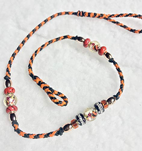 Black, and Orange Tiger 30 inch Kangaroo Leather Dog Show Loop Lead with Beads