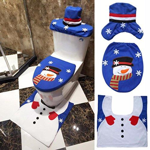 AMA(TM) 3PCS Christmas Fancy Santa Snowman Toilet Seat - Hello Kitty Plush Thanksgiving