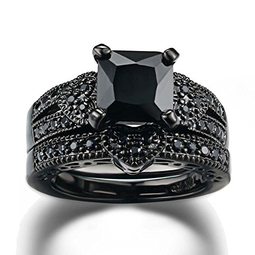 Gy Jewelry Couple Ring His Hers Women Black Gold Filled Cz Men Stainless Steel Bridal Sets Wedding Band by Gy Jewelry (Image #1)