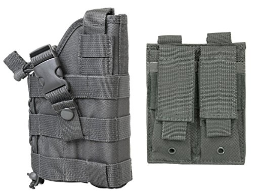 M1SURPLUS WOLF GREY MOLLE Compatible Holster With FREE 2 Pocket Magazine Pouch / The Holster Fits Kimber Desert Warrior SOC MATCH II Custom TLE II Eclipse Target Ultra Raptor II 1911 Full Size Pistols
