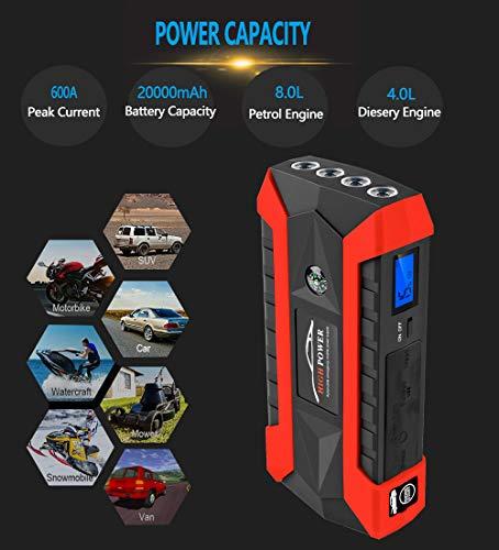 Sonmer Portable 89800mAh 12V LCD 4 USB Car Jump Starter,Super Bright LED Flashlight, Battery Power Bank For Notebook Mobile Phones Tablet by Sonmer (Image #3)
