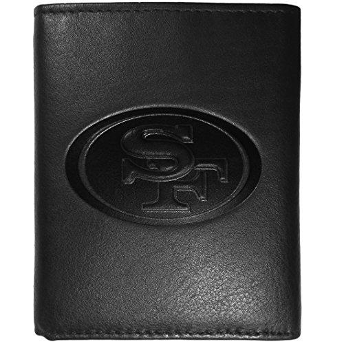 (Siskiyou NFL San Francisco 49Ers Embossed Black Tri-fold Leather Wallet)