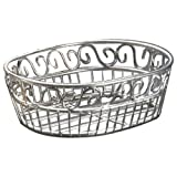 "American Metalcraft (SSOC97) 6-3/4"" x 9"" Oval Stainless Steel Scroll Bread Basket"