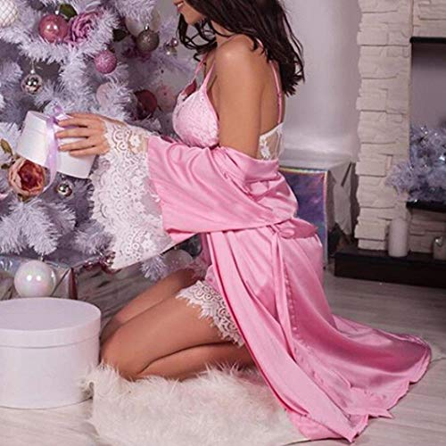 Camicia Donne Pigiama Lingerie Raso Biancheria Vestito Da Sexy Zycshang in intima Donne Pizzo Notte Sciolto Kimono Babydoll Con Cintura Accappatoio Vestaglia Della Biancheria Rosa Setosa Sexy wwTx0qUz
