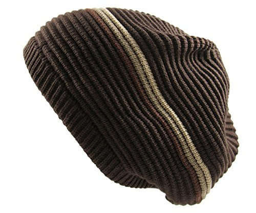 RW Rasta 100% Cotton Knitted Beanie (BROWN/KHAKI) (Brown Beanie Khaki)