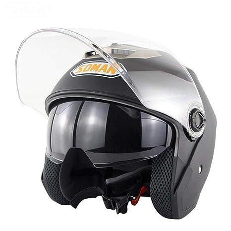 ZDHG Casco Moto,Casco Abierto para Motocicletas, Casco Retro ...