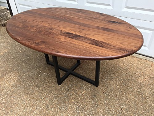 Wooden Oval Dining Table - Walnut with Metal Base