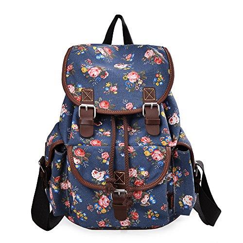 Floral Print Backpack - DGY Girl's Canvas Leather Trim School Backpack Cute Backpack Print Rucksack 163 Blue