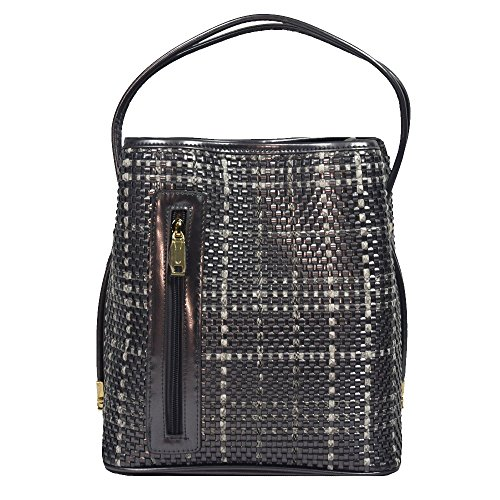 'georgia' Designer Bronze Woven Handbag By Samoe Style Ss-0339