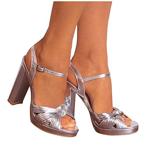 Ladies Silver Metallic Ankle Strap Peep Toe Block High Heel Strappy Sandals