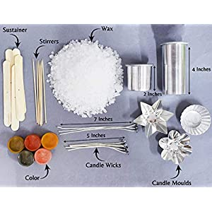 Kalakaram Colored Candle Making Kit with Complete Supplies: Paraffin Wax Beads, Color Dyes, Candle Wicks, Aluminum Mold