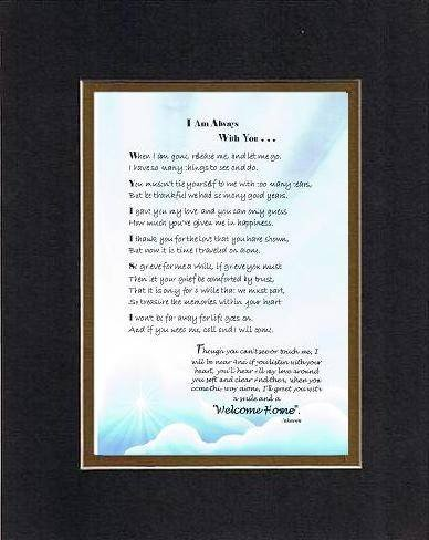 I Am Always With You Poem on 11 x 14 inches Double Beveled Matting (Black on Gold)