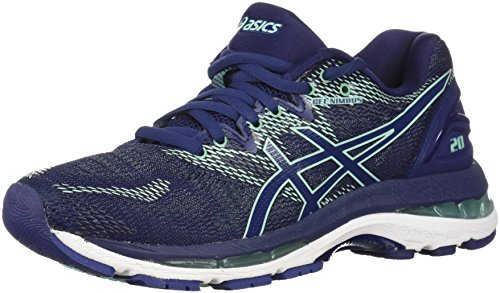 ASICS Women's Gel-Nimbus 20 Running Shoe, indigo blue/indigo blue/opal green, 10.5 2A US