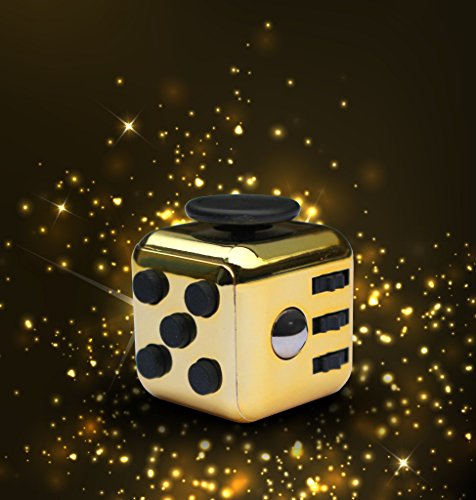 The ORIGINAL LUXURY GOLD Fidget Cube | Anti-Stress/Anti-anxiety Toy for Kids and Adults. Promoting Focus, Attention and a Soothing Calm in all Aspects of Life. A Great Gift for All - First Class Shipping International