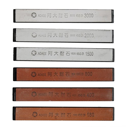 Mexidi Sharpening Stone Set - Set 6pc Professional Kitchen Knife Sharpener Whetstone - Non-slip Base Stone Grit 180/400/800/1500/2000/3000