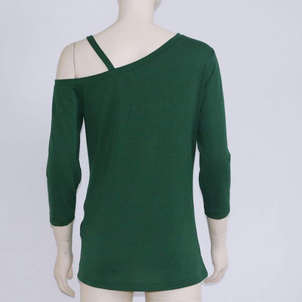 iQKA Women Oblique Off Shoulder Tee Shirt 3/4 Sleeve Knot Blouse Tunic Top(Green,Medium by iQKA (Image #6)