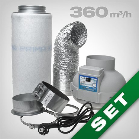Aktivkohlefilter Lüftungsset inkl. Rohrventilator 230/360 m³/h AKF Belüftungsset für Growbox/Homebox