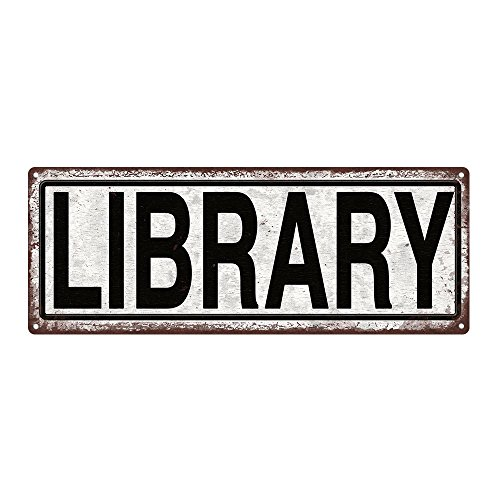 Metal Street Bar Sign (LIBRARY Metal Street Sign, Book lovers, Bookworm, Reading, She Shack)