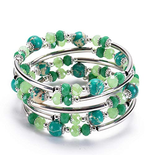 Green Crystal Wrap Bracelets for Women - Most Popular Color In 2019 Fashion Bohemian Jewelry Imperial Jasper Multilayer Charm 3 Wrap Bracelets for Girls, Best Gifts for Birthday, Valentine's Day