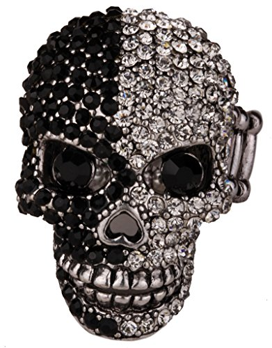 YACQ Women's Skull Stretch Rings with Moving Jaw Biker Costume Jewelry Silk Scarf Clasp Buckle ()