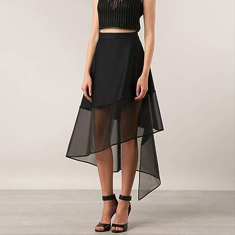 QYYDBSQ Falda de Tul para Mujer Cintura Alta Irregular Negro Una ...