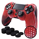 Pandaren STUDDED Anti-slip Silicone Cover Skin Set for PS4/SLIM/PRO controller(CamouRed controller skin x 1 + FPS PRO Thumb Grips x 8)