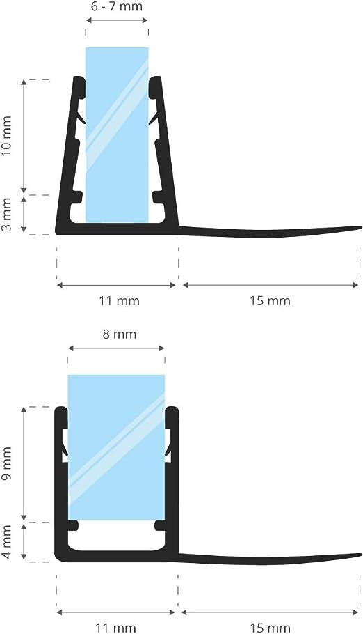 STEIGNER 190 cm Junta Repuesto Para el Vidrio 6mm/7mm/8mm Junta ...