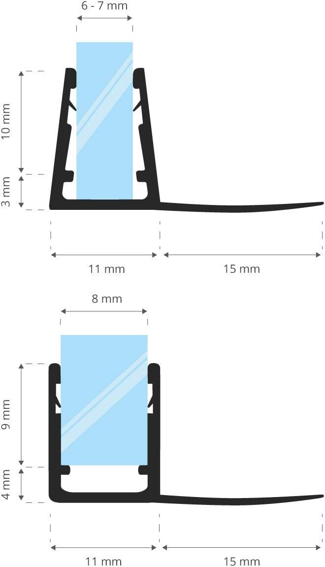 STEIGNER Junta de Ducha, Junta de Sellado, 190 cm, Espesor del Vidrio 6/7/8 mm, Junta Recta PVC, UK02: Amazon.es: Bricolaje y herramientas