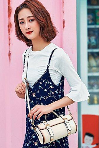 Blanc en en bandoulière Tooltoq cylindrique nouvelle Sac la rétro Messenger de tendance Blanc cuir H4ROwxq5w