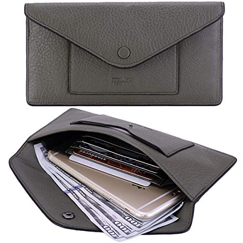Women's Wallet Leather RFID BLOCKING Ultra Thin Envelope Purse Travel Clutch with ID Card Holder and Phone Pocket (Natural a Army Green)