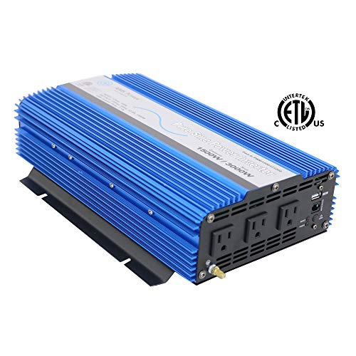 AIMS Power PWRI150012120S Pure Sine Inverter, 1500W Continuous Power, 12V DC Input, Short Circuit Protection, Blue (1500 Watt Pure Sine Wave Power Inverter)