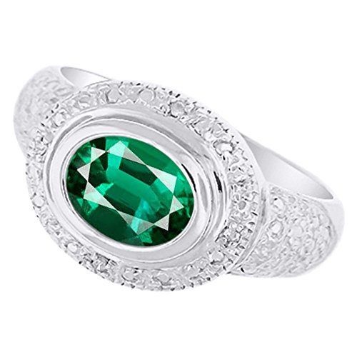 - Ladies Emerald & Diamond Ring 14K White Gold