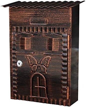 メールボックス 大容量商用農村ホーム装飾ウォールマウントロック可能なメールボックス屋外メタルキーを亜鉛メッキ 家庭用またはビジネス用 (Color : Vintage, Size : 22x9.5x34cm)