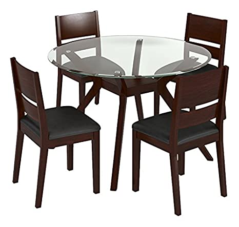 Urban Ladder Wesley - Cabalo (Leatherette) 4 Seater Round Glass Top Dining  Table Set (Colour : Black, Finish : Dark Walnut)