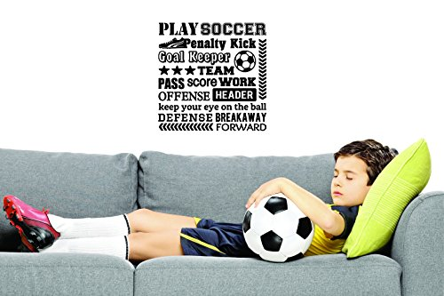 Wall Decal Sale : Play Soccer Penalty Kick Goal Keeper Team Pass Score Work Offense Header Keep Your Eye On The Ball Defense Forward Sports Quote Size: 20 X 20 Inches - 22 Colors Available (Best Football Pass Plays)